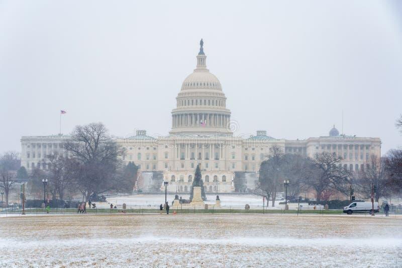 USA Capitol w washington dc przy zimą fotografia royalty free