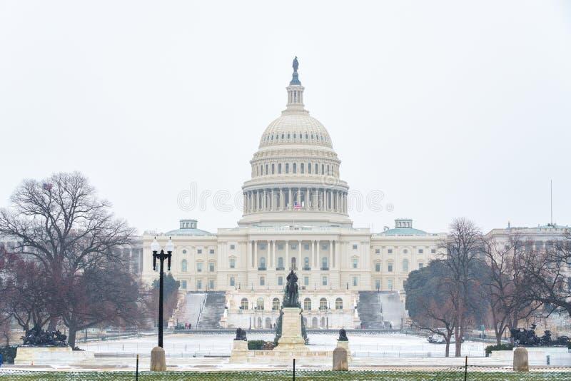 USA Capitol w washington dc przy zimą obraz stock