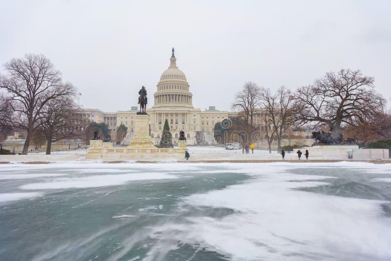 USA Capitol w washington dc przy zimą obrazy stock