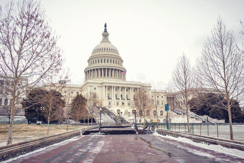 USA Capitol w washington dc przy zimą zdjęcia royalty free