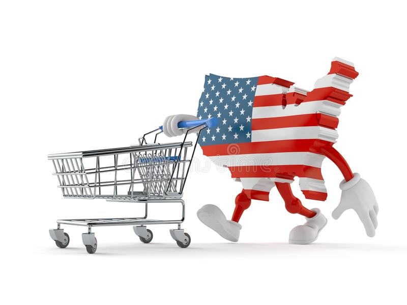 USA character with shopping cart. Isolated on white background. 3d illustration royalty free illustration