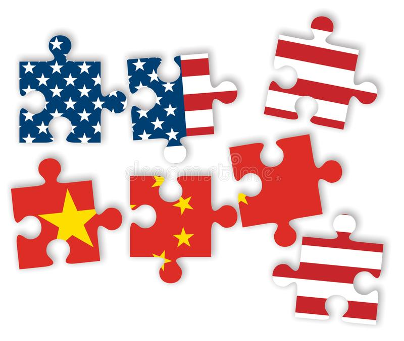 USA and China as jigsaw puzzle pieces with flags of the United States of America and China on white background. Trade war concept royalty free illustration