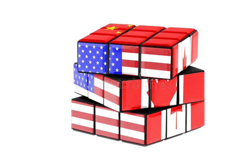 USA, China and Canada flag on a twisted puzzle. Isolated on white background. Economy and political complexity concept between stock image