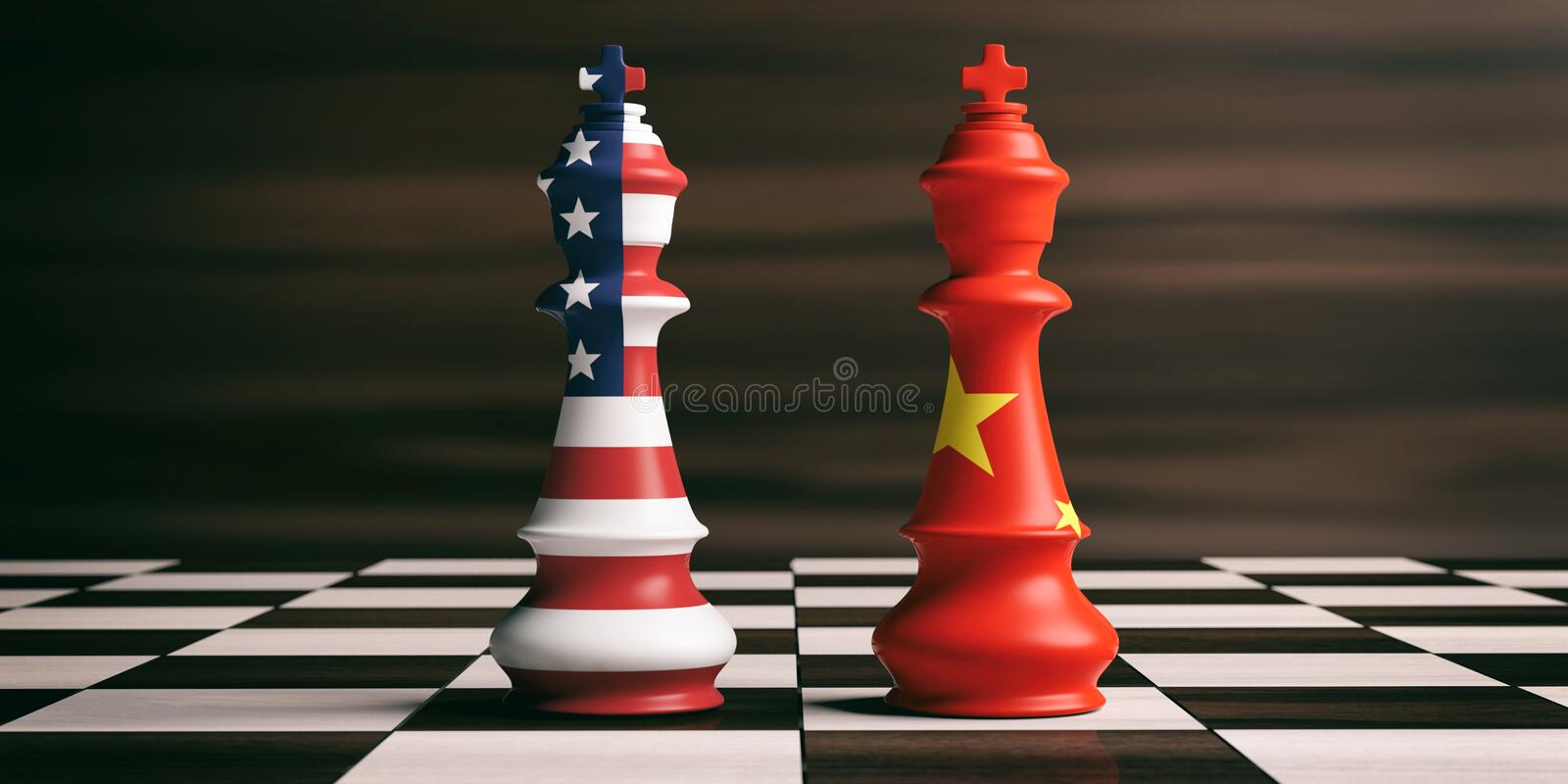 USA and China cooperation concept. USA and China flags on chess kings. 3d illustration. USA and China cooperation concept. US America and China flags on chess vector illustration