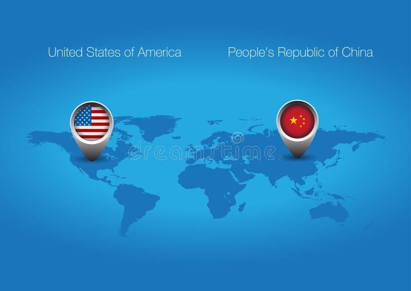 USA China flag button. World map royalty free illustration