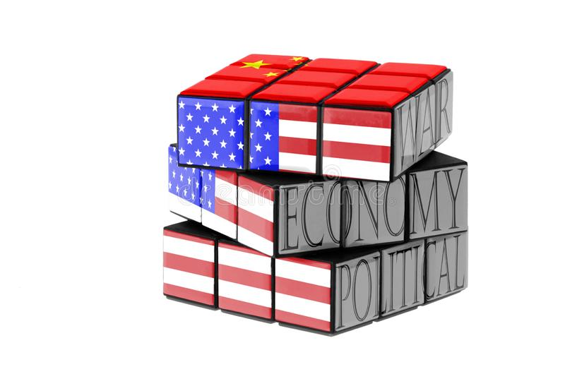 USA and China flag on a twisted puzzle. Isolated on white . stock illustration