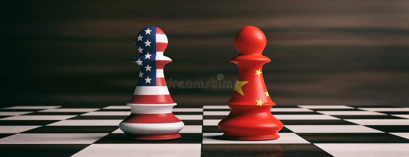 USA and China flags on chess pawns on a chessboard. 3d illustration stock illustration