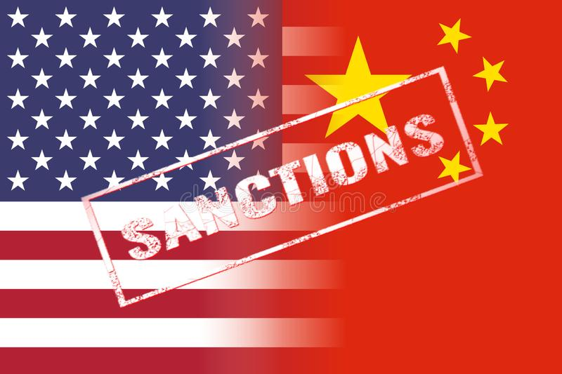 Usa china flags, sanctions red stamp stock illustration