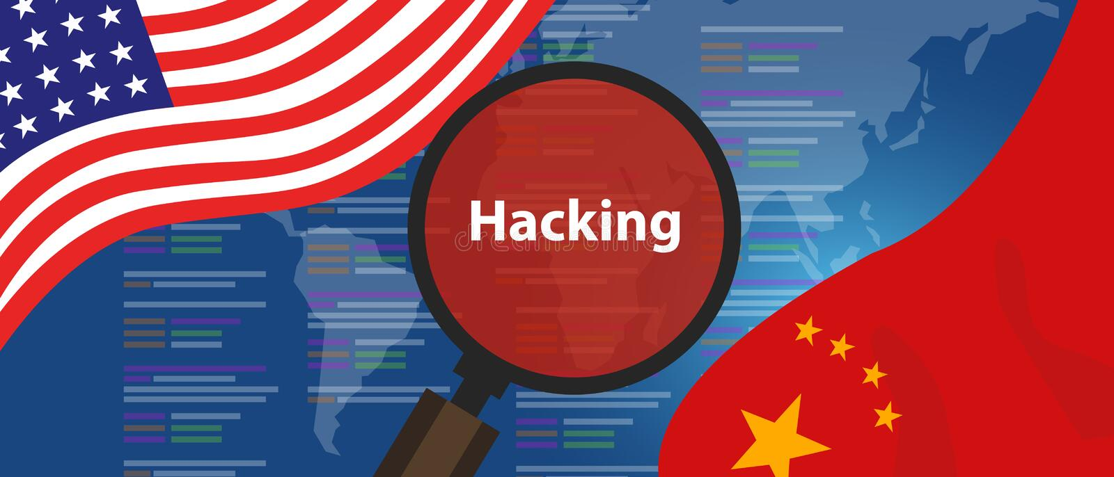 USA China hacking cyber espionage. Chinese hacker investigation of surveillance or security breach. Illustration stock illustration