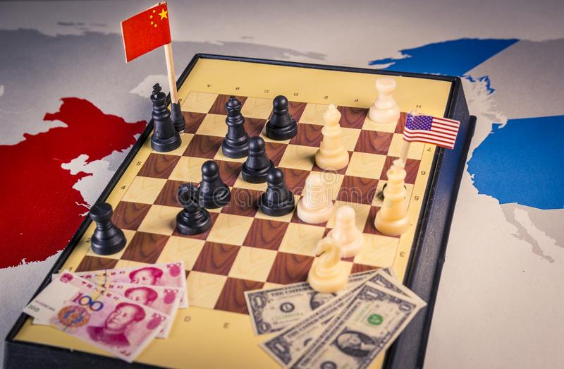 USA and China playing chess. Trade war concept royalty free stock images