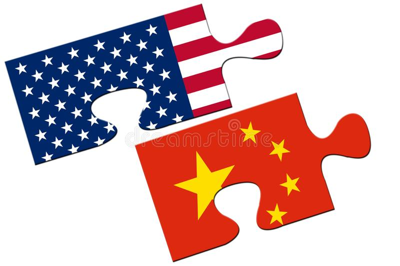 USA and China puzzles from flags royalty free stock image