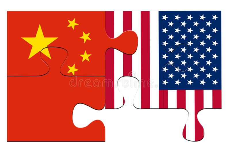 USA and China puzzles from flags royalty free stock images