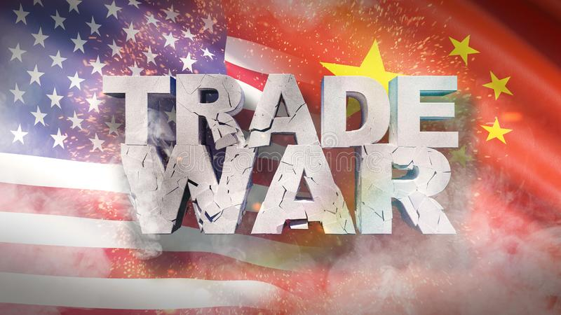USA and China relationship concept. Cracked text Trade war on flag. 3D illustration. vector illustration