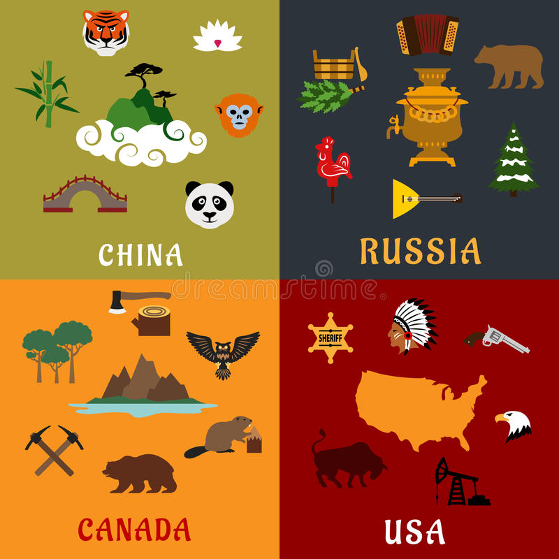 USA, China, Russia and Canada flat travel icons royalty free illustration