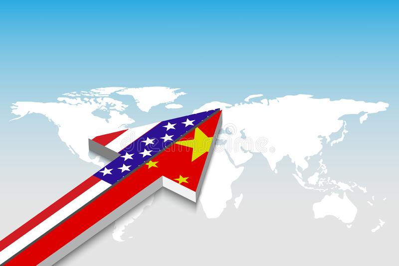 USA and China trade and arrow. Partnership, merger, alliance concept. Vector illustrationnts royalty free illustration