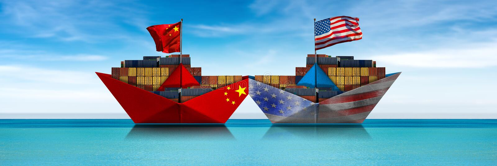 USA and China trade war - Collision of two cargo container ships stock image