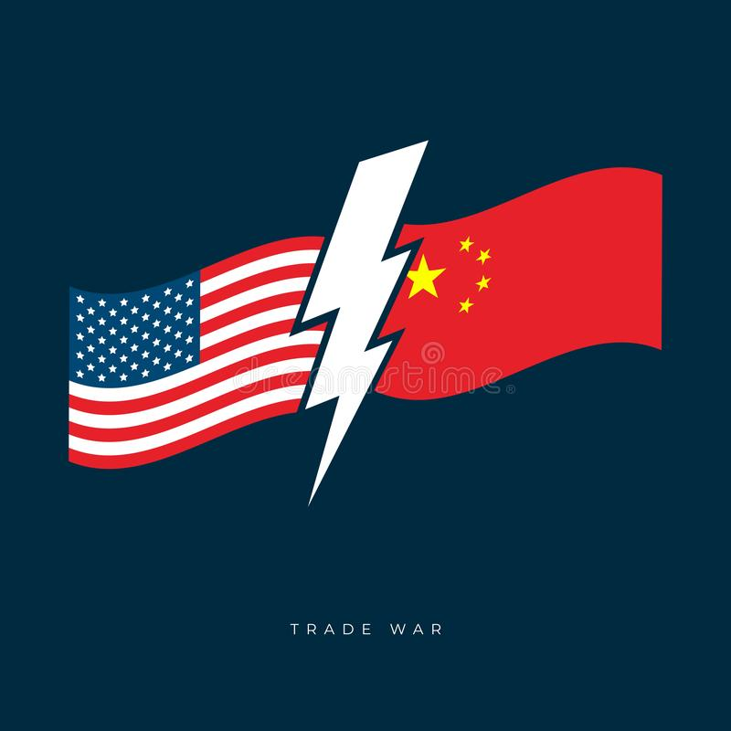 USA and China trade war concept. Flags of United States of America and China vector illustration