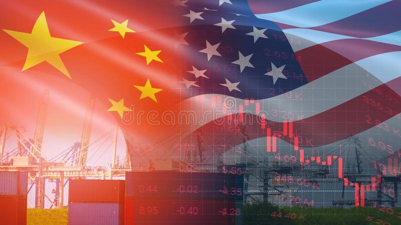 USA and China trade war economy conflict tax business finance money / United States raised taxes on imports of goods from China royalty free stock image