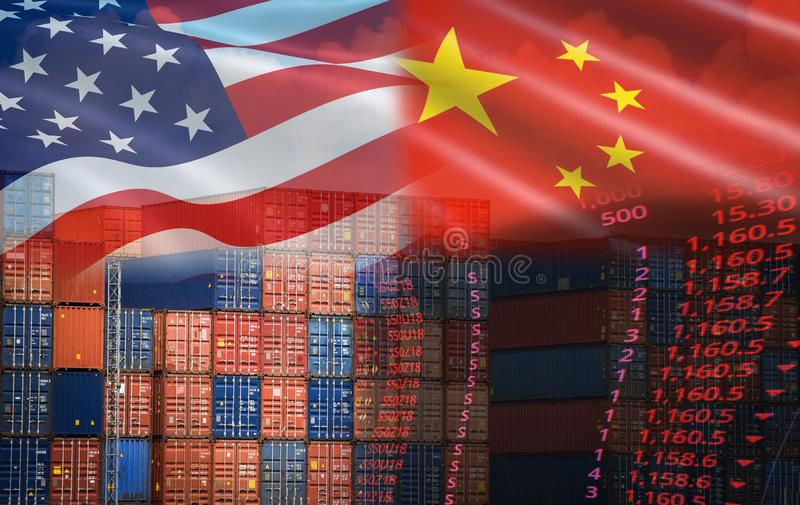 USA and China trade war economy conflict tax business finance money / United States raised taxes on imports of goods from China stock image