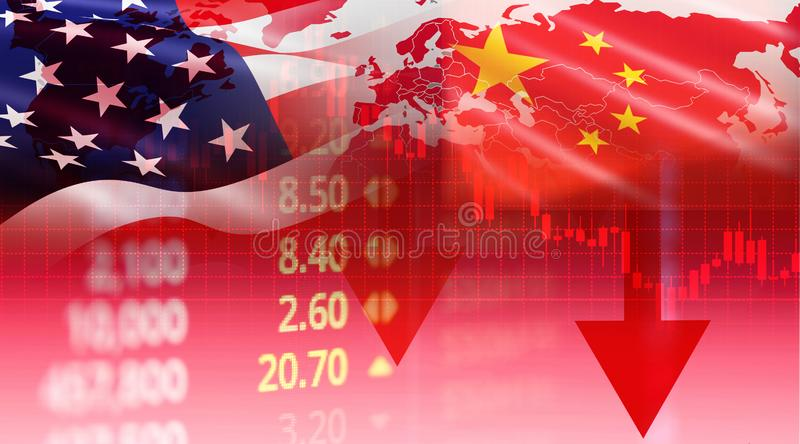 USA and China trade war economy conflict tax business finance money - United States raised taxes on imports of goods from China on stock photography