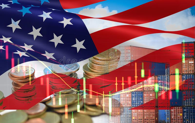 USA and China trade war economy recession conflict tax business finance money coins - United States raised taxes on imports China stock photos
