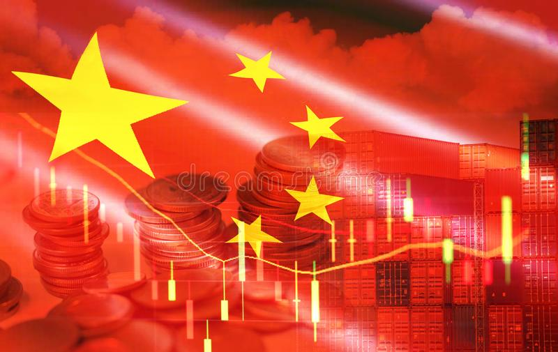 USA and China trade war economy recession conflict tax business finance money coins - United States raised taxes on imports China royalty free stock images