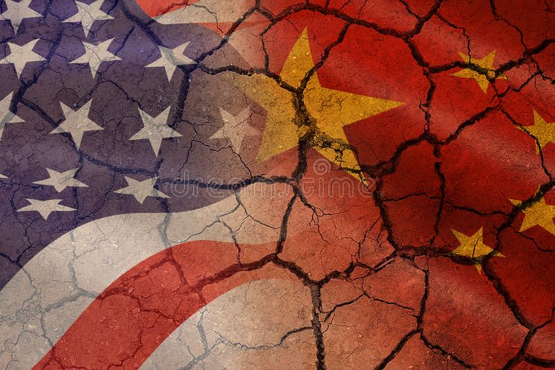 USA and China trade war economy recession conflict tax business finance money - Relations America and chinese flags cracked wall stock photo
