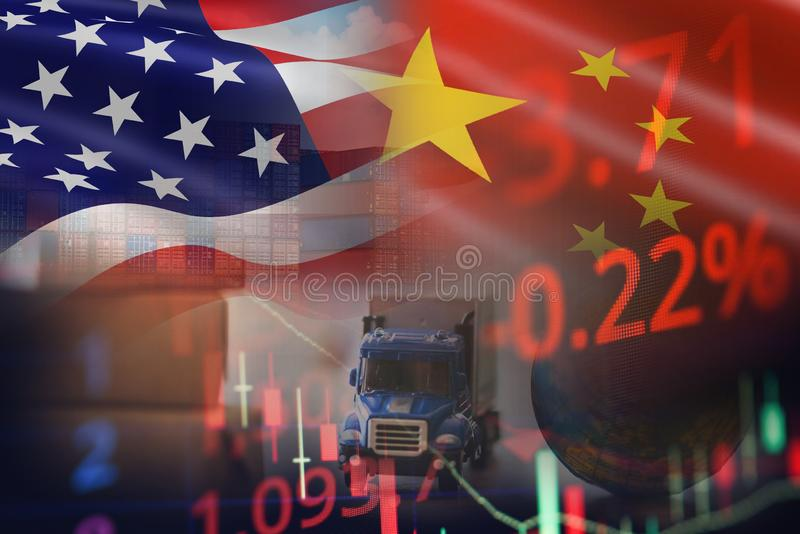 USA and China trade war economy recession conflict tax business finance to worldwide - United States raised taxes on imports China royalty free stock image