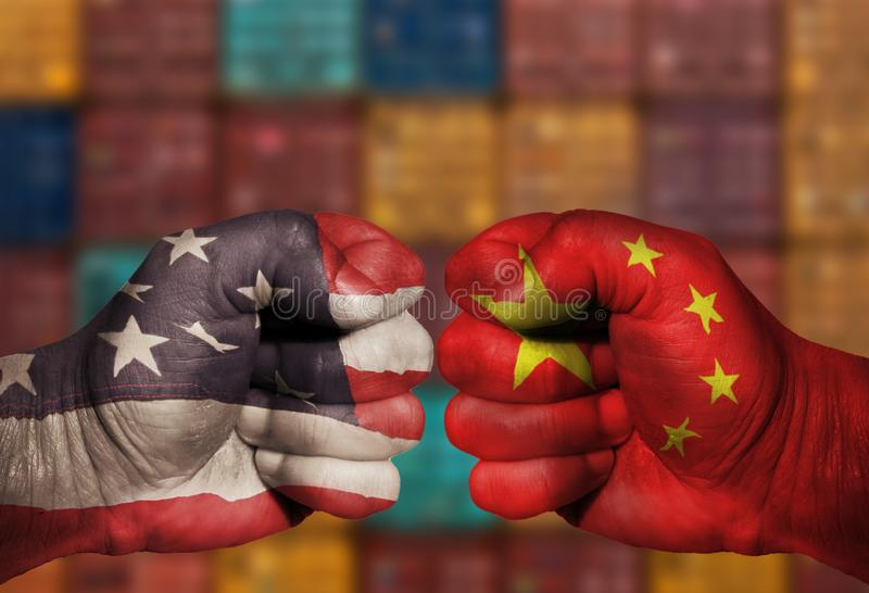 USA China Trade War Fist War Fight stock photos