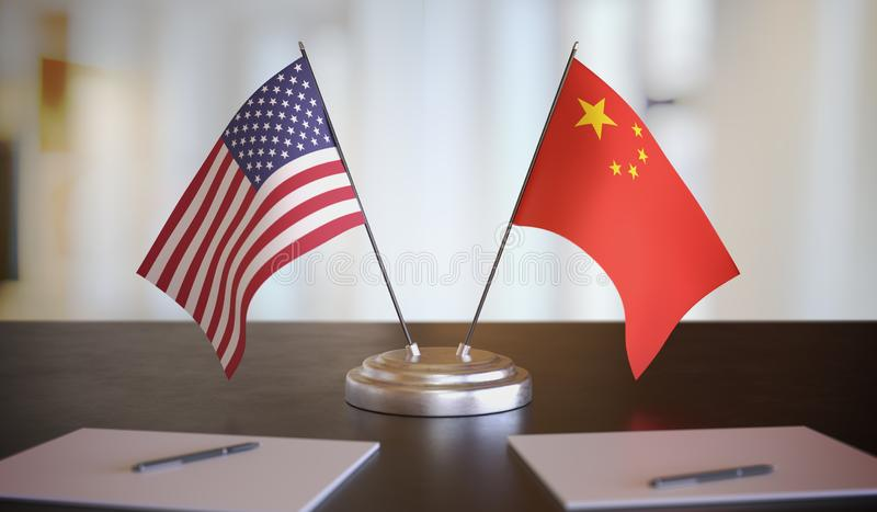 USA and Chinese flags on table. Negotiation between China and United states. 3D rendered illustration. USA and Chinese flags on table. Negotiation between China royalty free stock image
