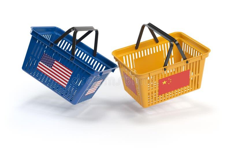 USA Chiny rynku konflikt Ekonomiczny wojny handlowa pojęcie Dwa oppo royalty ilustracja