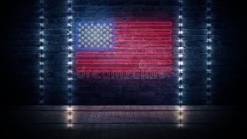 USA chorągwiany neonowy znak Dnia usa świątecznie tło fotografia stock
