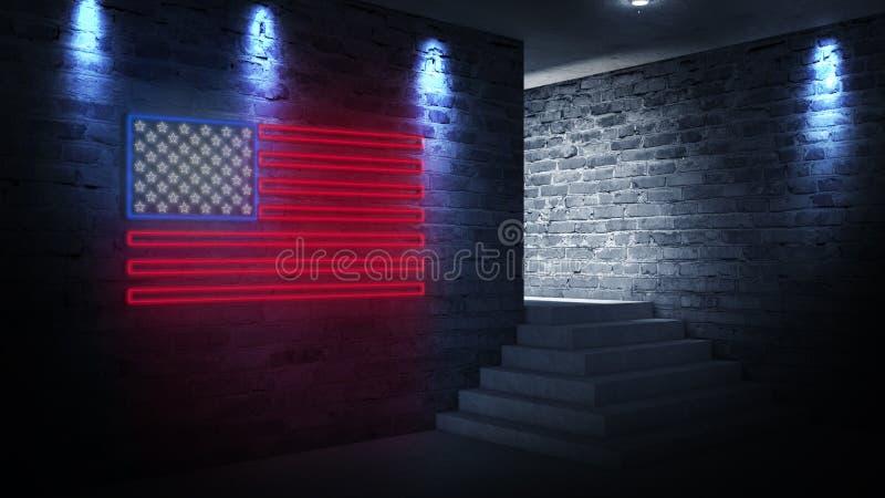 USA chorągwiany neonowy znak Dnia usa świątecznie tło fotografia royalty free
