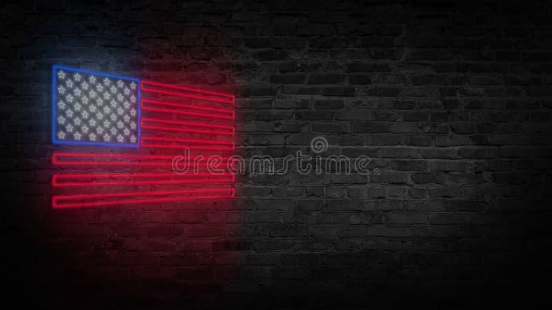 USA chorągwiany neonowy znak Dnia usa świątecznie tło zdjęcie stock