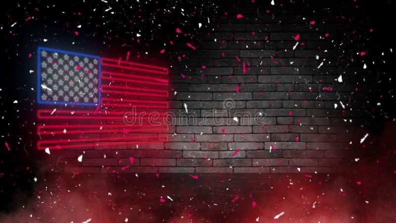 USA chorągwiany neonowy znak Dnia usa świątecznie tło zdjęcia royalty free