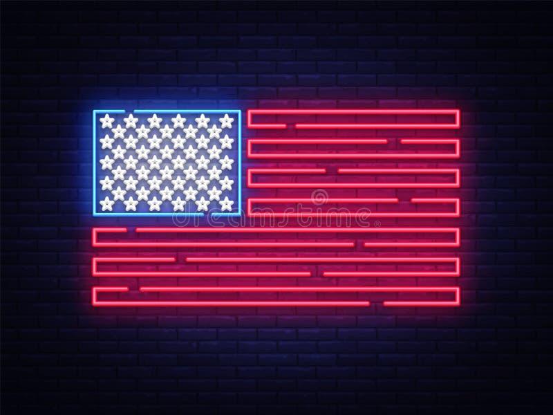 USA chorągwiany neonowy znak Nocy Signboard usa jaskrawa flaga USA chorągwiany wektor, neonowy symbol, lekka ikona również zwróci ilustracji