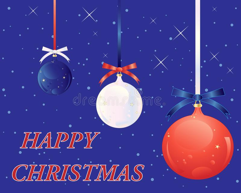 USA christmas greeting card with red white and blue baubles on a starry background stock illustration