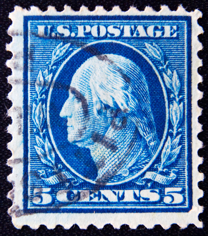 USA circa 5 cents 1911. MOSCOW RUSSIA - NOVEMBER 25, 2012: A stamp printed in USA shows George Washington, first president of USA 1789-1797, circa 1911 stock images