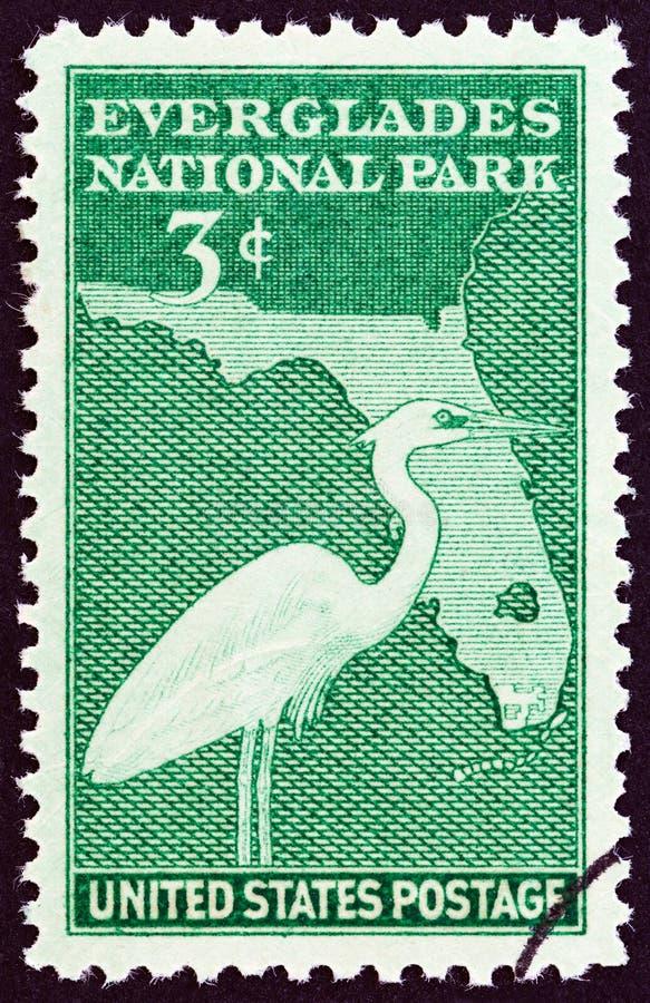 USA - CIRCA 1947: A stamp printed in USA shows Great Blue Heron and Map of Florida, circa 1947. USA - CIRCA 1947: A stamp printed in USA from the `Everglades royalty free stock image