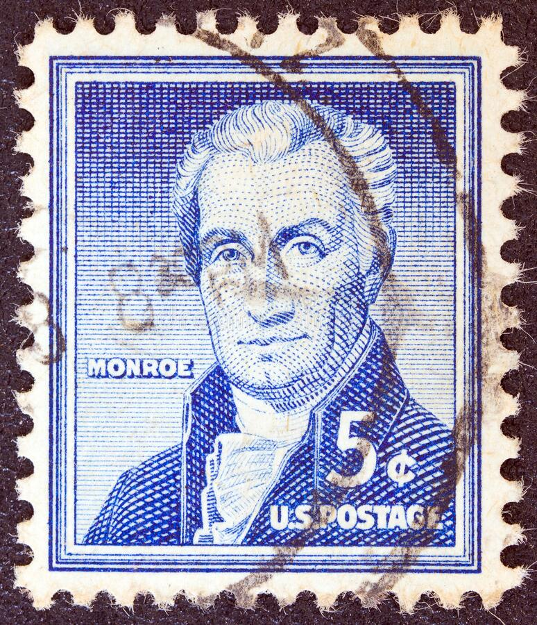 USA - CIRCA 1954: A stamp printed in USA shows the fifth President of the United States James Monroe, circa 1954. USA - CIRCA 1954: A stamp printed in USA from stock photos