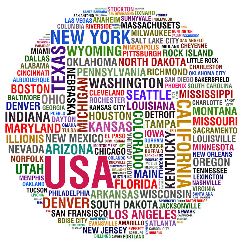 USA Cities. Colorful USA Cities and states royalty free illustration