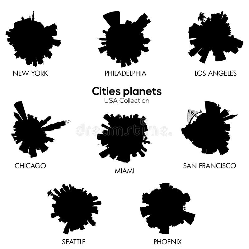 USA cities vector circular skylines c royalty free illustration