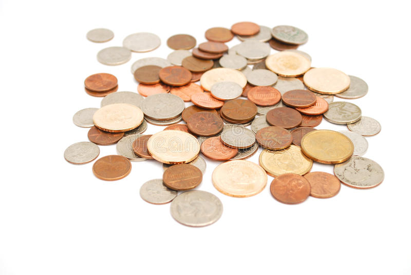 Usa coins. Coins collections on saving income royalty free stock photography
