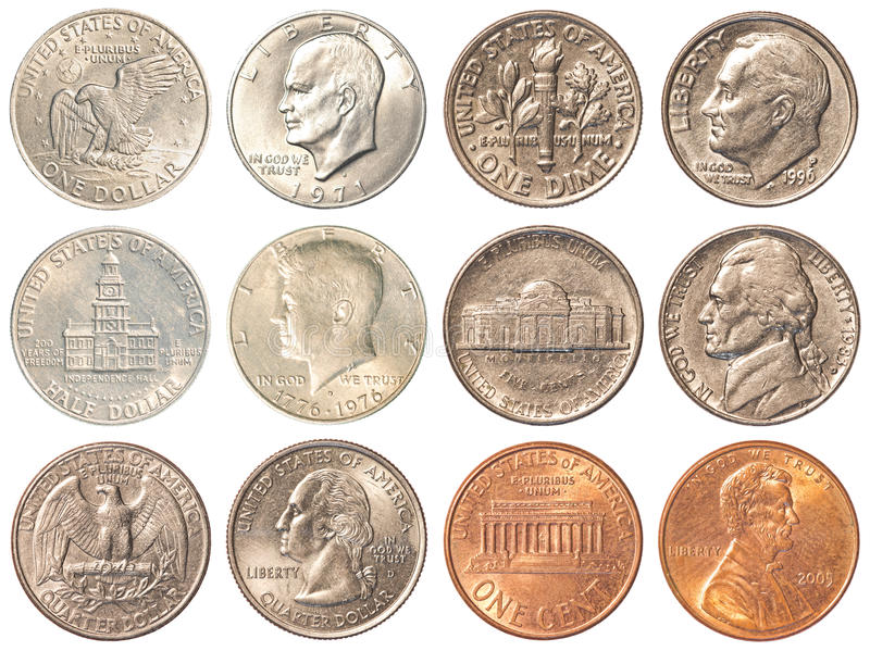 USA coins isolated on white background. A collection of all the circulating coins in the united states + half dollar & 1 dollar coin royalty free stock photos