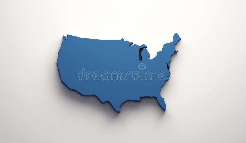 USA United States Map . 3D Render Illustration royalty free illustration