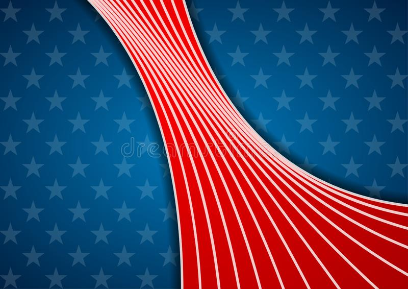 USA colors and stars abstract bright wavy background royalty free illustration