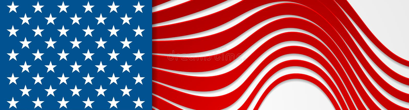USA colors and stars abstract bright wavy banner design vector illustration