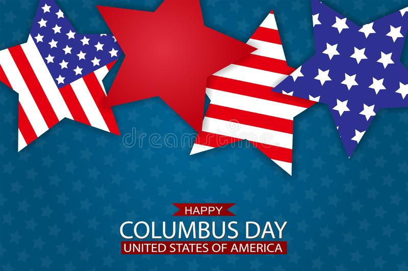 USA Columbus Day background with stars in American national flag colors. vector illustration