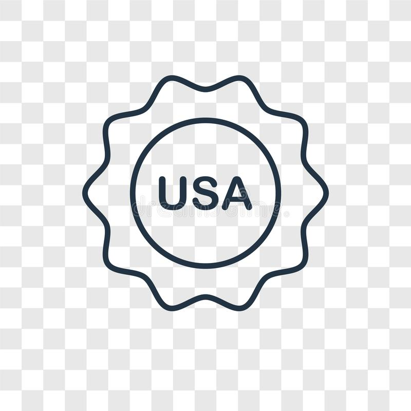 Usa concept vector linear icon isolated on transparent background, Usa concept transparency logo in outline style. Usa concept vector linear icon isolated on stock illustration