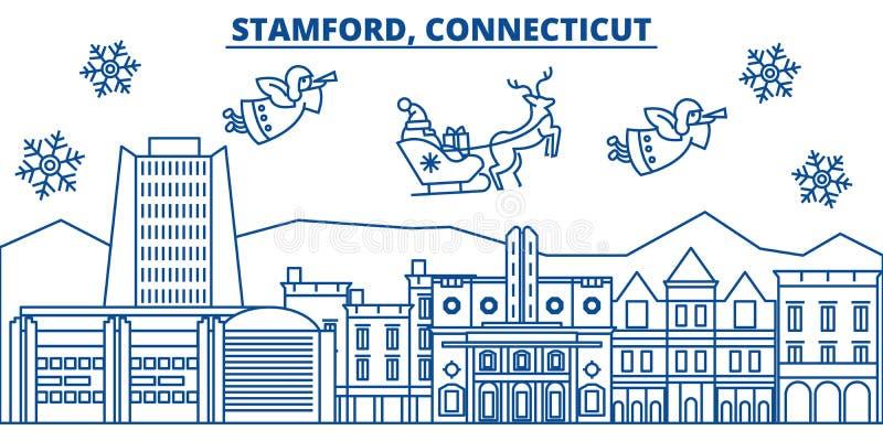 USA, Connecticut, Stamford-Winterstadtskyline Frohe Weihnachten und guten Rutsch ins Neue Jahr verzierten Fahne Wintergruß lizenzfreie abbildung